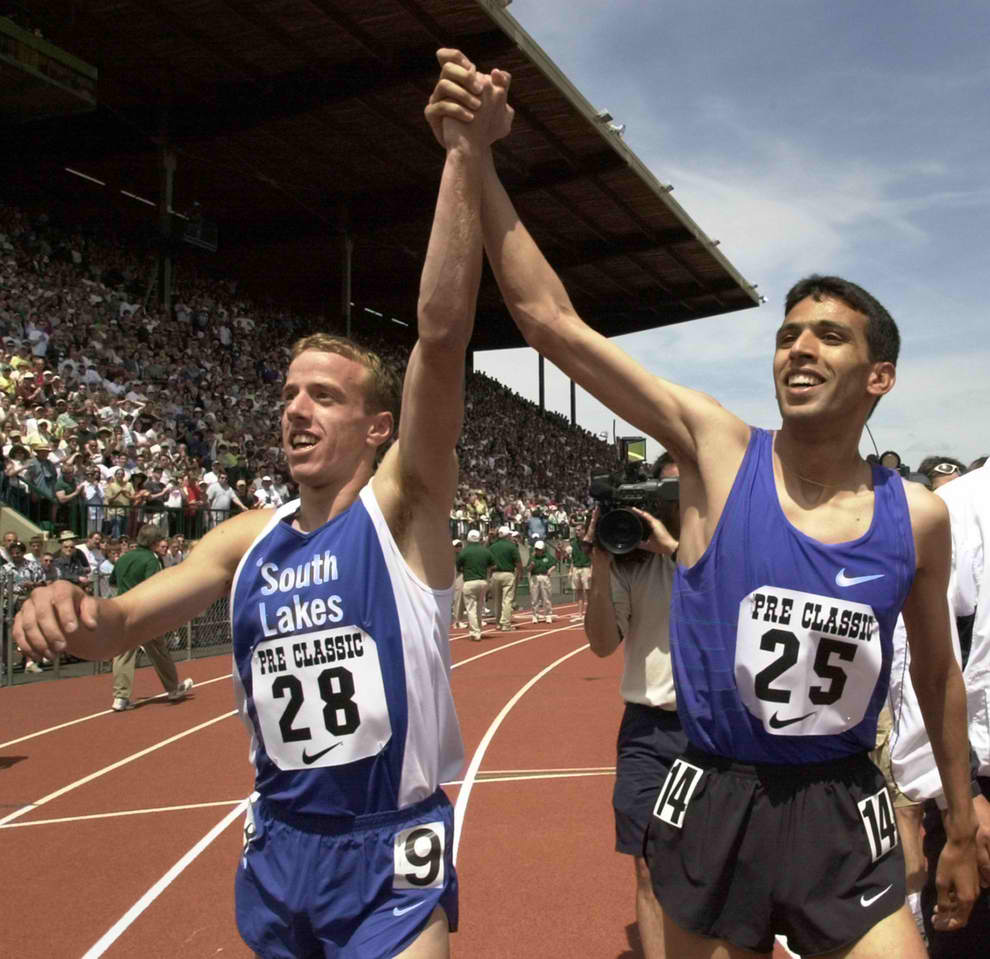 Alan webb with hicham el guerrouj 2001